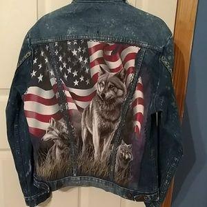 Wrangler denim jacket redesigned wolf